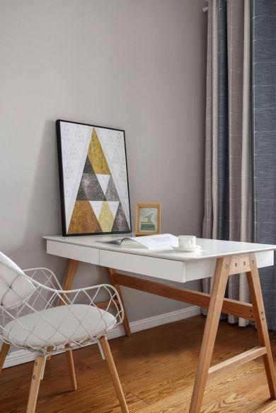 书房白色书桌北欧风格装修设计图片