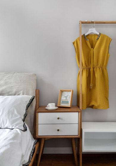 卧室白色背景墙北欧风格装饰设计图片