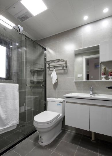 卫生间白色洗漱台北欧风格装潢设计图片