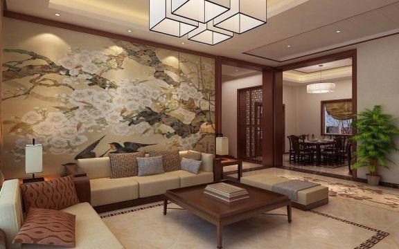 优雅客厅新中式吸顶灯装饰设计图片