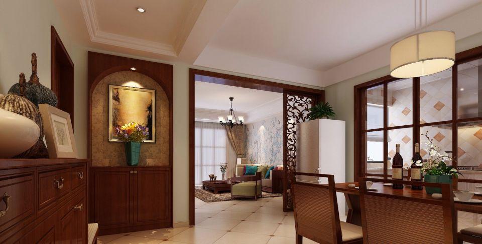 中式与现代混搭2居室新房装修效果图