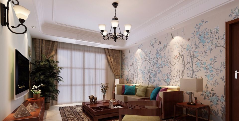 118平现代中式风格两居室装修效果图