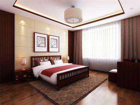 中式卧室背景墙装潢效果图
