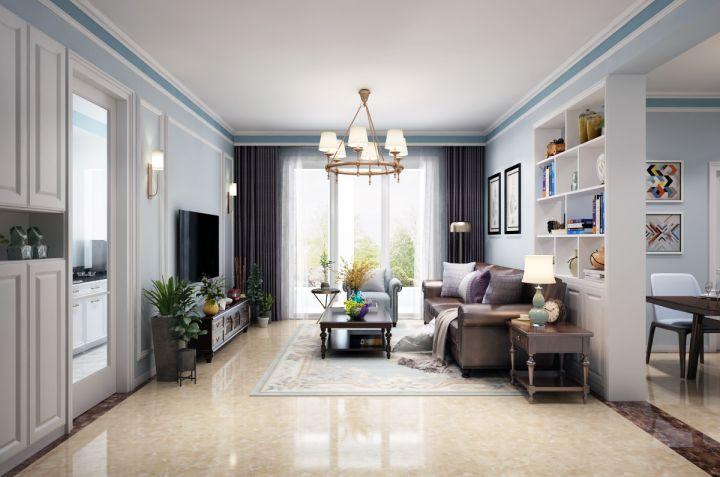 98平美式风格两居室装修效果图