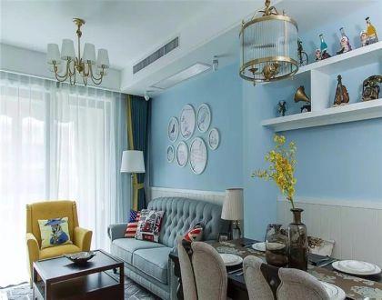 95平美式风格三居室装修效果图