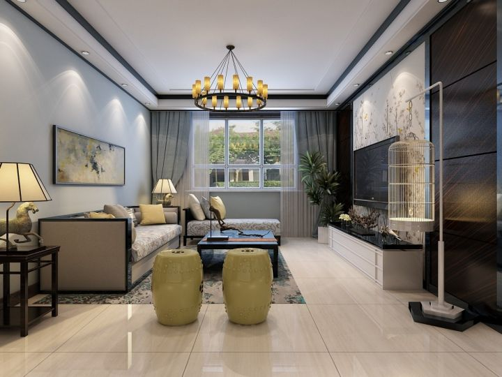 125平新中式风格三居室装修效果图