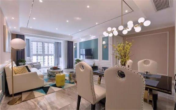 91平法式风格两居室装修效果图