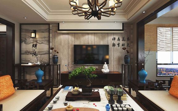 140平新中式风格三室两厅一厨两卫装修效果图