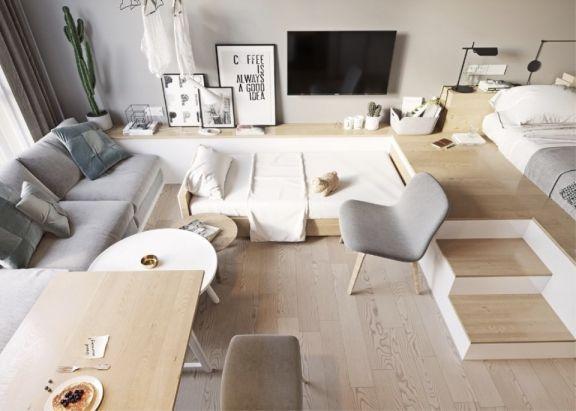 58平现代简约风格公寓装修效果图
