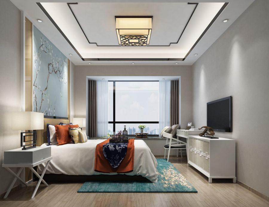 150平方新中式风格4房3厅2卫中森公园华府效果图