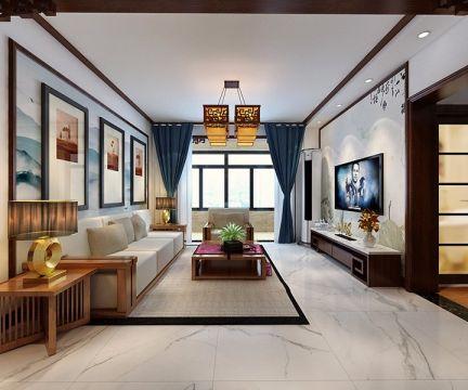 110平新中式风格三居室装修效果图
