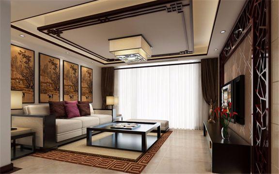113平新中式风格三居室装修效果图