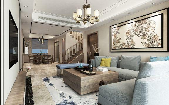 220平新中式风格四居室装修效果图