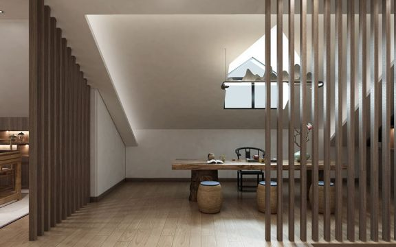 起居室咖啡色阁楼设计图片