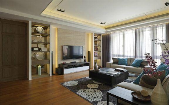 130平新中式风格三居室装修效果图