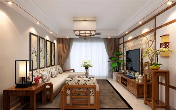 典丽矞皇客厅新中式吸顶灯装修美图