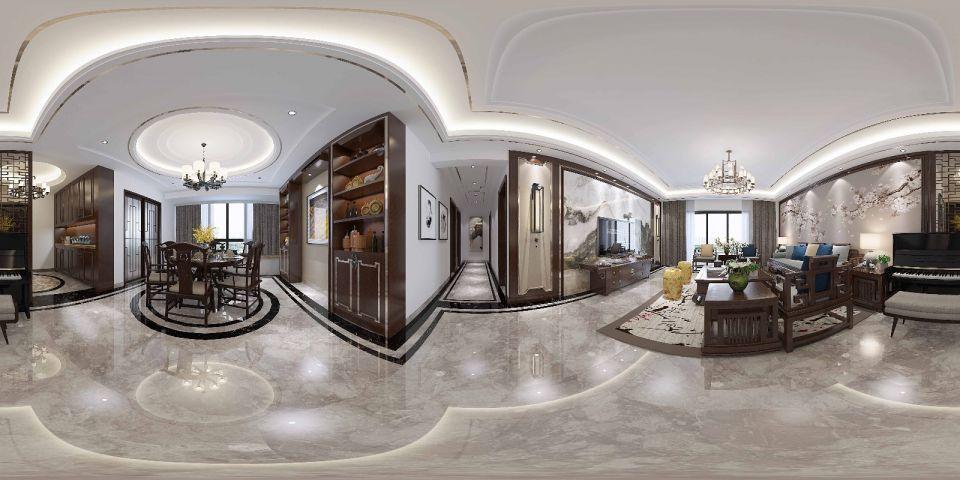2018新中式150平米效果图 2018新中式三居室装修设计图片