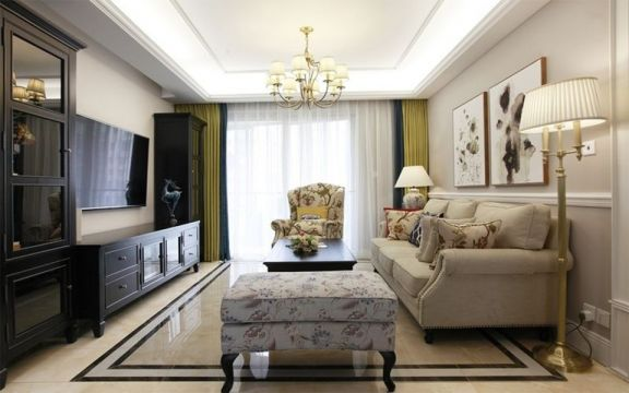 115平美式风格三居室装修效果图