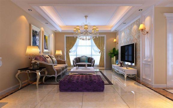 96平米简欧风格三居室装修效果图