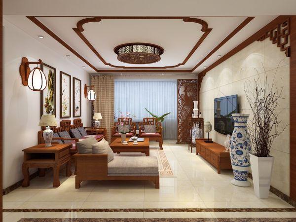 157平中式风格三居室装修效果图