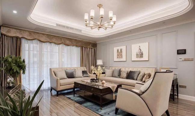 110平美式风格三居室装修效果图