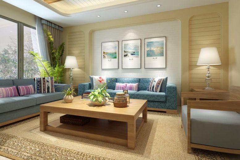 87平地中海风格两居室装修效果图