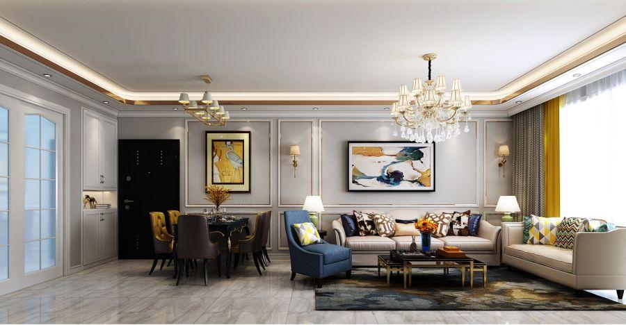116平美式风格三居室装修效果图