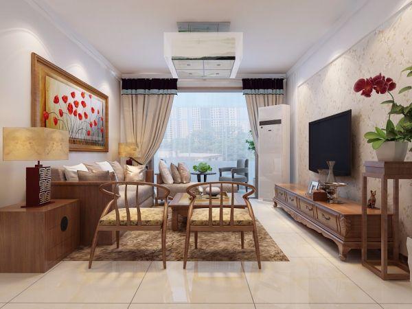 117平新中式风格三居室装修效果图