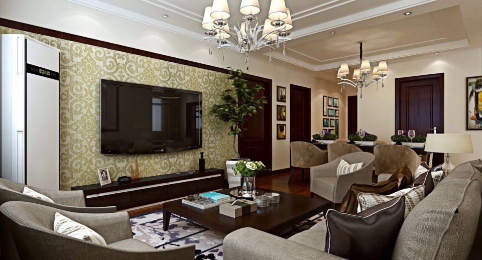 145平简中风格三居室装修效果图