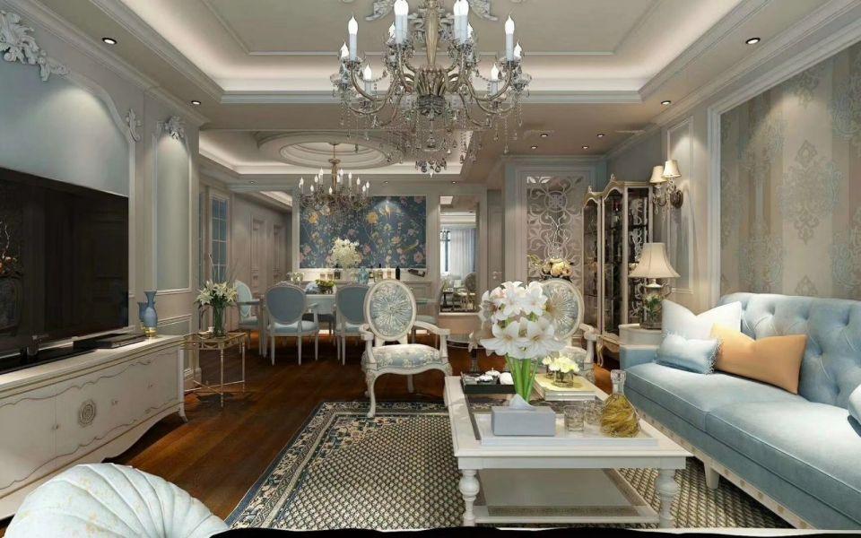 客厅地砖法式风格装潢图片