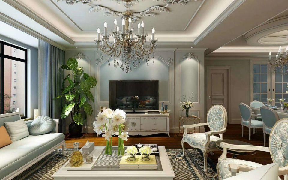 客厅电视柜法式风格装潢效果图
