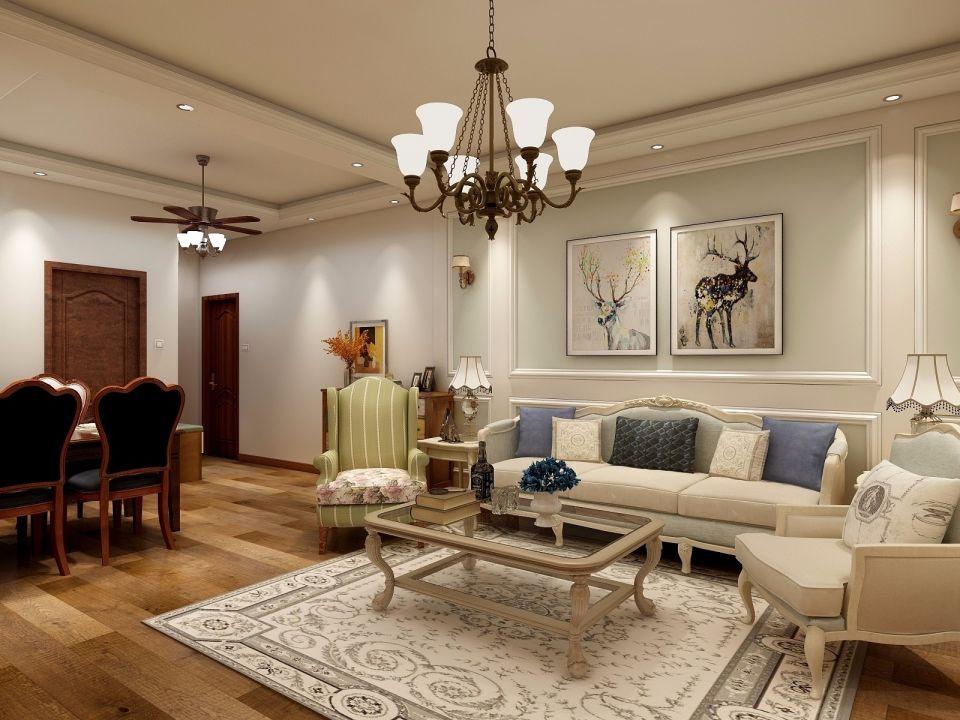 120平美式风格三室两厅装修效果图