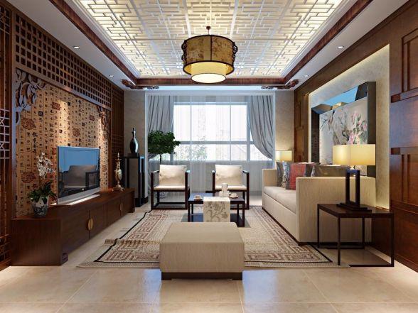 178平新中式风格三居室装修效果图