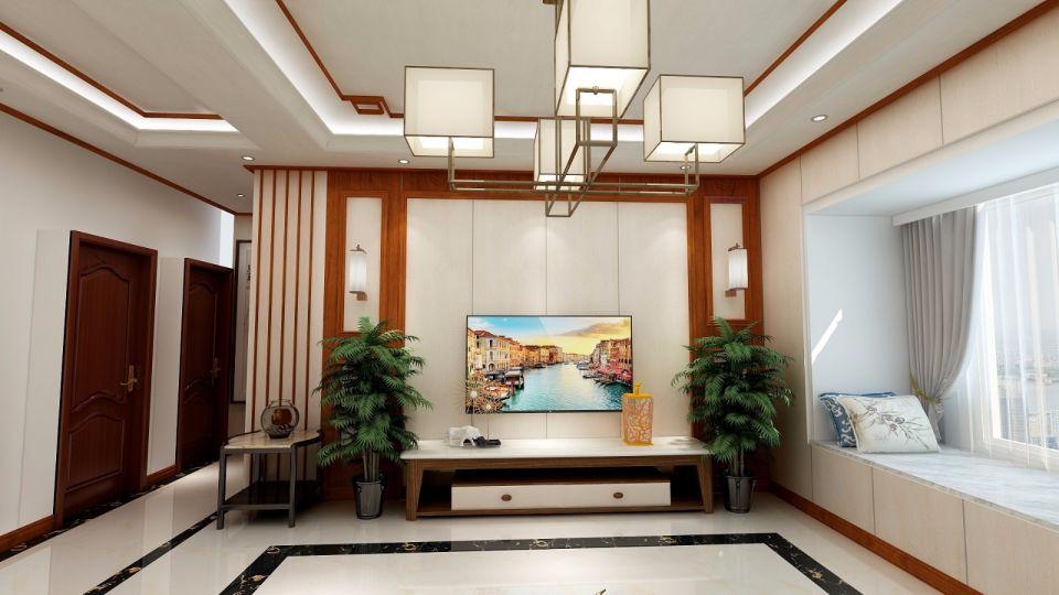 116平中式风格三居室装修效果图