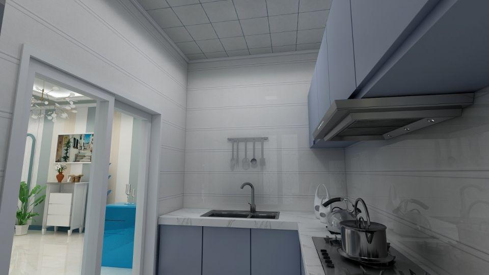眩亮蓝色厨房装潢实景图片