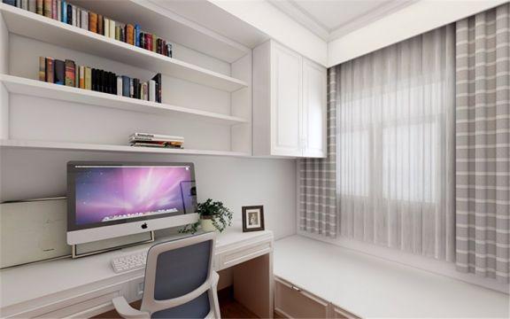 书房白色书桌现代简约风格装饰效果图