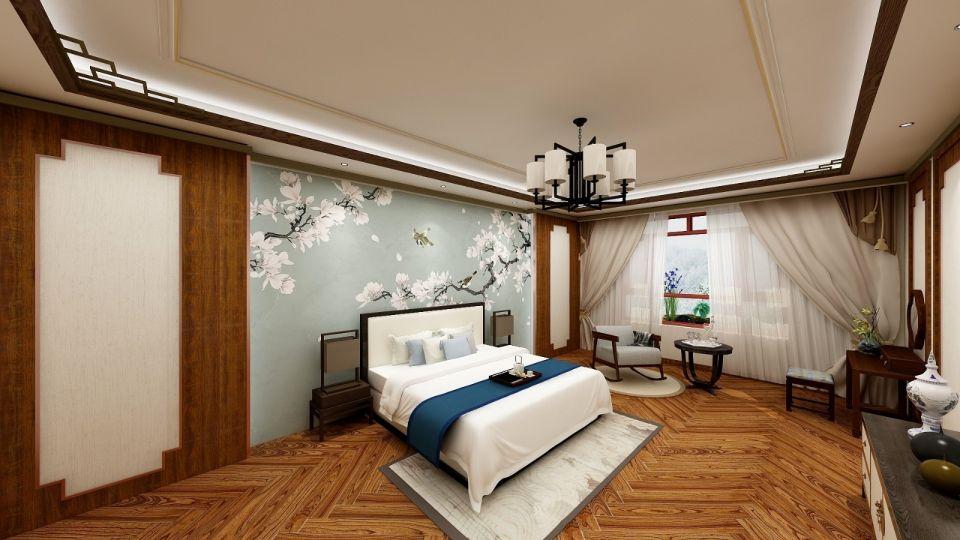 卧室米色吊顶中式风格装修效果图