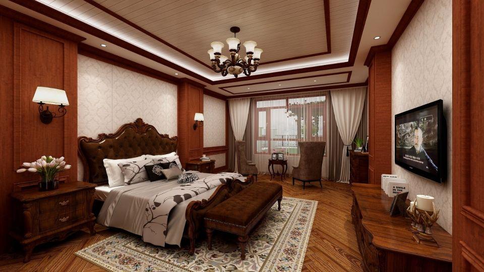 卧室咖啡色床美式风格装潢图片