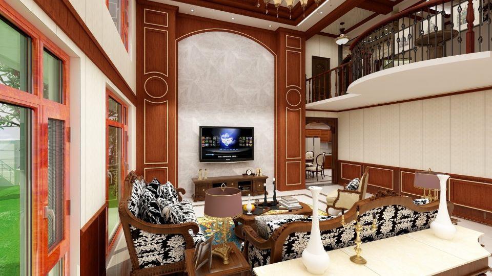 客厅白色电视背景墙美式风格装修设计图片