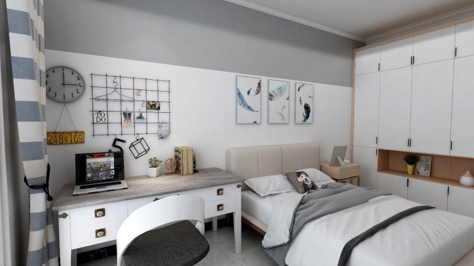 清新卧室书桌设计效果图