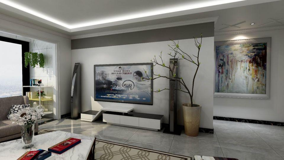 客厅白色电视柜现代风格效果图