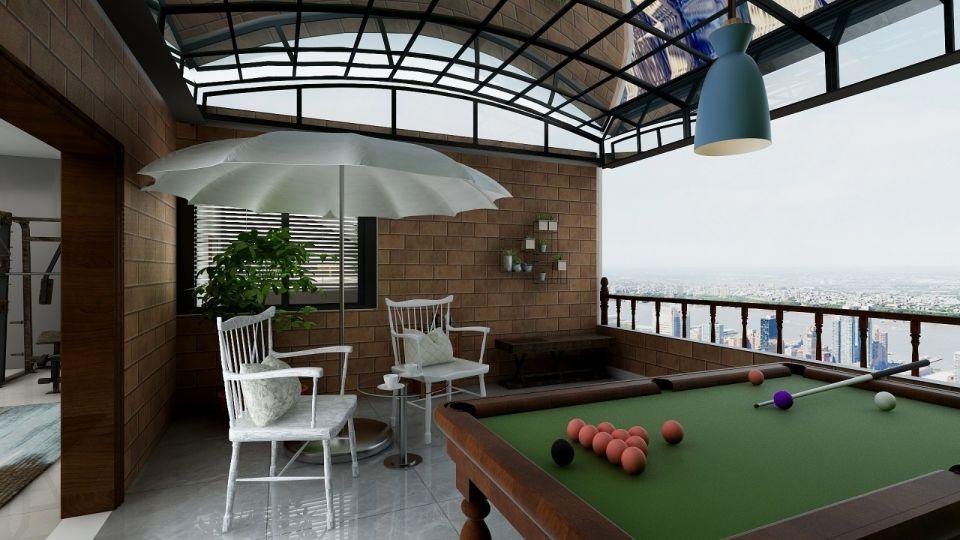 现代阳台地砖装修案例效果图