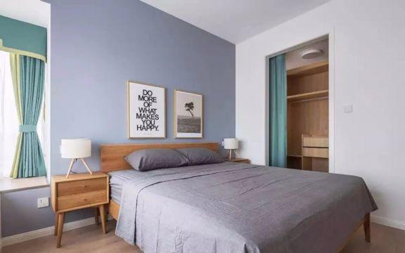 卧室灰色背景墙北欧风格装饰图片