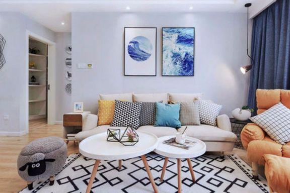 客厅灰色背景墙现代欧式风格装潢图片