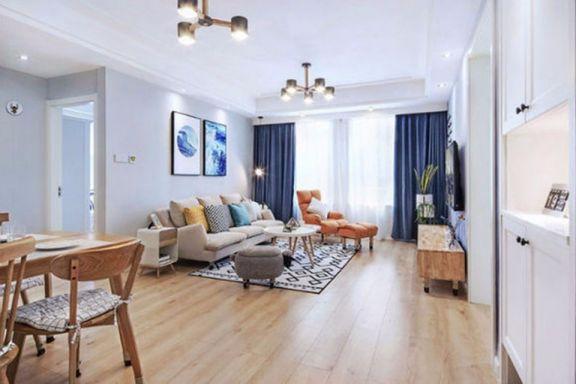 客厅米色沙发现代欧式风格装修设计图片