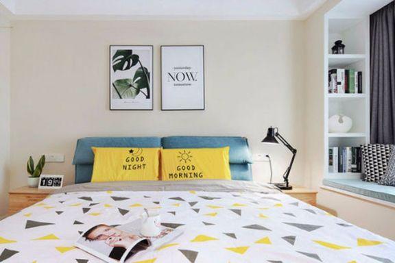 卧室黄色背景墙现代欧式风格装修效果图