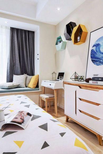 卧室白色书桌现代欧式风格装饰效果图