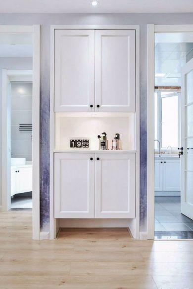 玄关白色鞋柜现代欧式风格装潢效果图