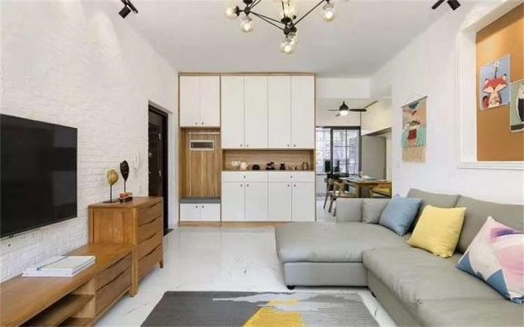 客厅黄色电视柜现代简约风格效果图