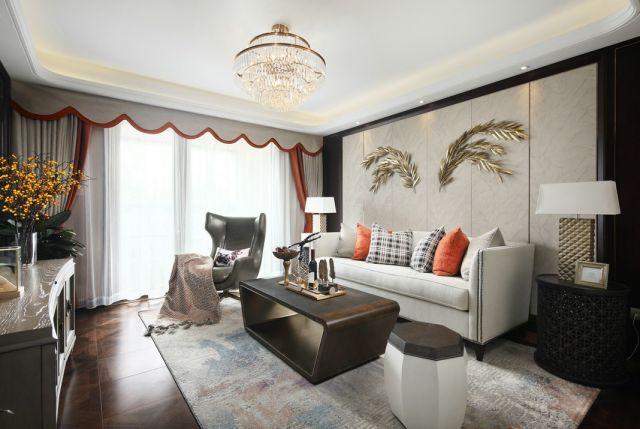 客厅米色沙发美式风格装修图片